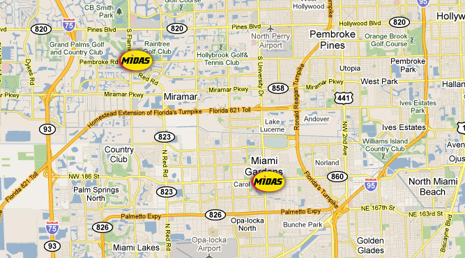 Map of Midas Total Car Care Centers in Miami-Dade and Broward County
